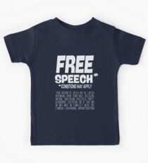 Free Speech - Conditions May Apply - in white text Kids Clothes