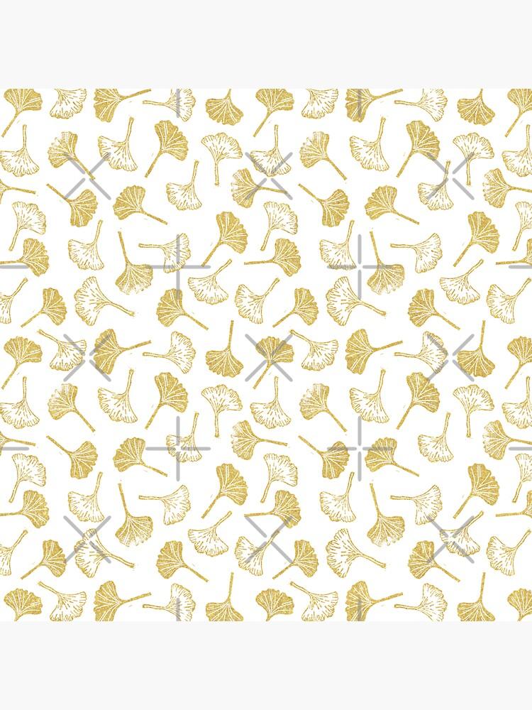 Ginkgo Biloba linocut pattern GLITTER GOLD  by PrintablesP