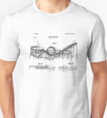 Vintage Wooden Roller Coaster Blueprint Shirt - Crazy Scary Unisex T-Shirt