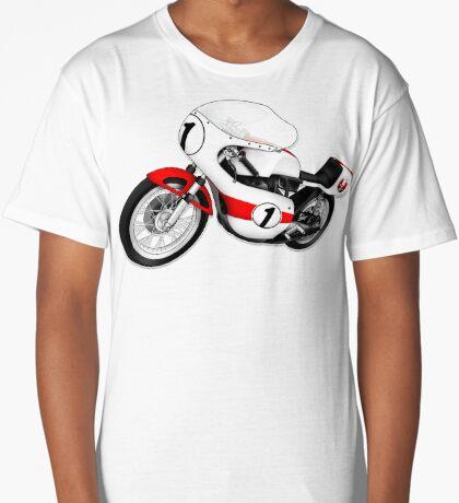 Motorcycle T-shirts Art: White & Red Long T-Shirt