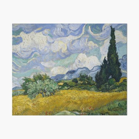 Vincent Van Gogh - Wheat Field with Cypresses Art Board Print