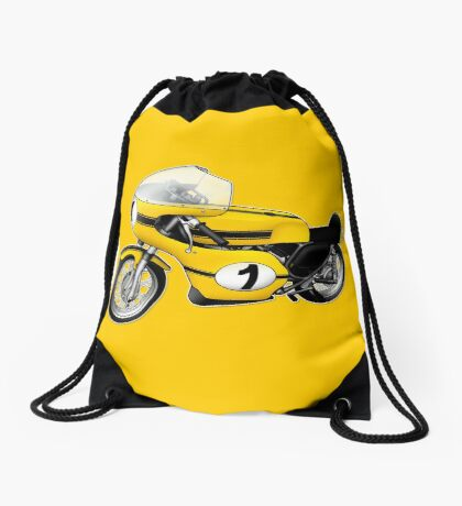 Motorcycle T-shirts Art: Yellow & black Drawstring Bag