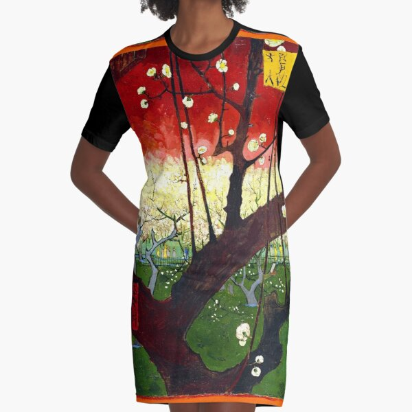 Van Gogh - Flowering Plum Orchard, after Hiroshige Graphic T-Shirt Dress
