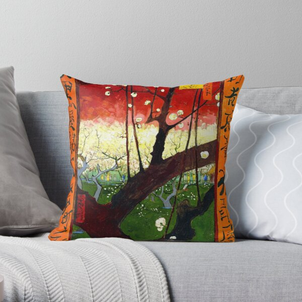 Van Gogh - Flowering Plum Orchard, after Hiroshige Throw Pillow