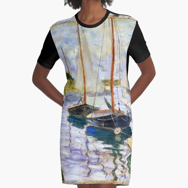 Sailboats on the Seine - Claude Monet Graphic T-Shirt Dress