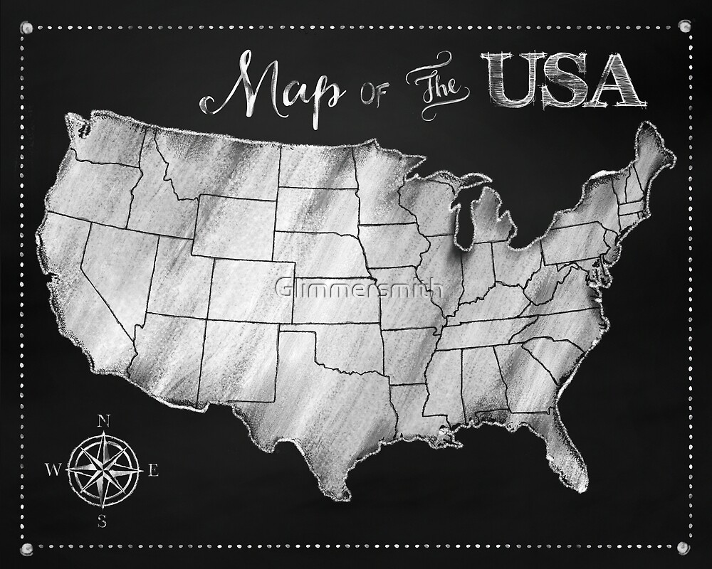 Map Of The Usa Chalkboard Art Us Map By Glimmersmith Redbubble