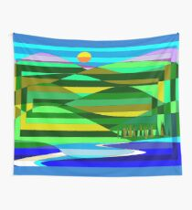 Mountain and Lake Quilted, Abstract Wall Tapestry