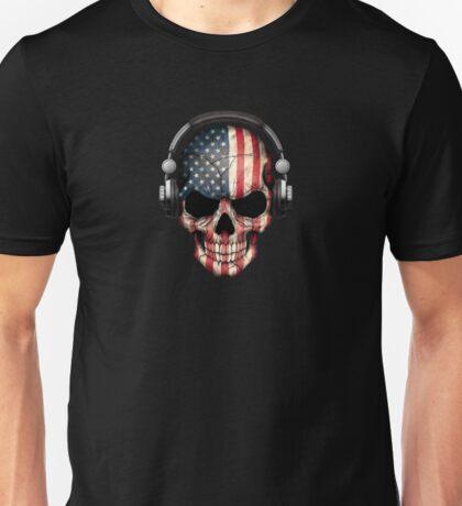 Dj Skull with American Flag Unisex T-Shirt