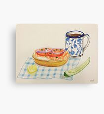 Bagel and Lox Watercolor Drawing Canvas Print