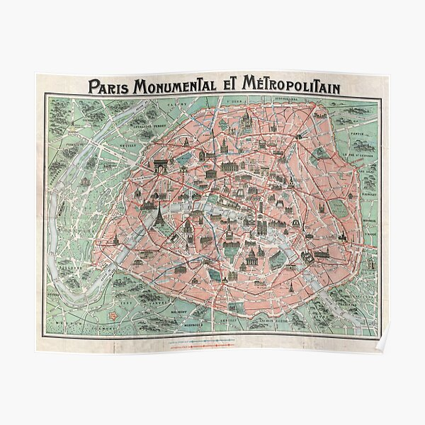 Old Map of Paris  Poster