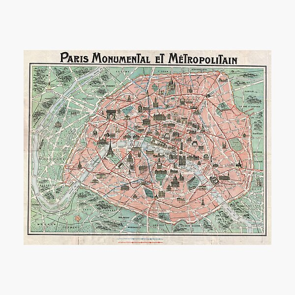 Old Map of Paris  Photographic Print