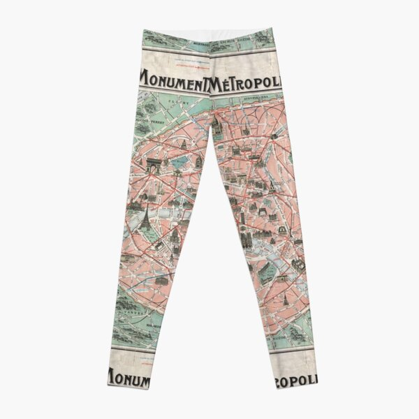 Old Map of Paris  Leggings