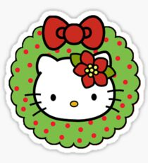 Hello Christmas Wreath Sticker
