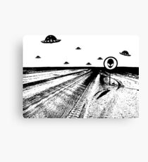 Stop Ufo in the desert Canvas Print