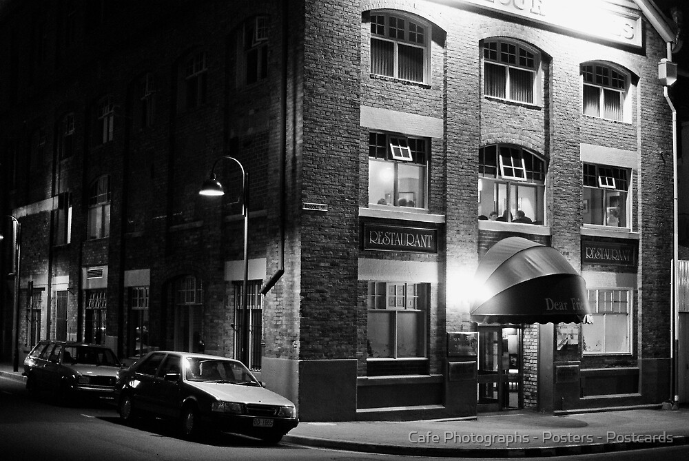 Street at Night by Cafe Photographs - Posters - Postcards