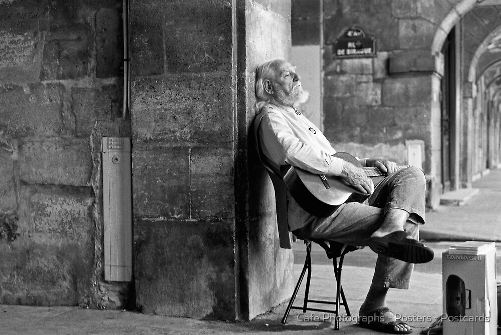 Old Man with Guitar by Cafe Photographs - Posters - Postcards