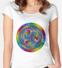 Epiphany Psychedelic Dragons Rainbow Mandala Women's Fitted Scoop T-Shirt