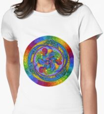 Epiphany Psychedelic Dragons Rainbow Mandala Women's Fitted T-Shirt