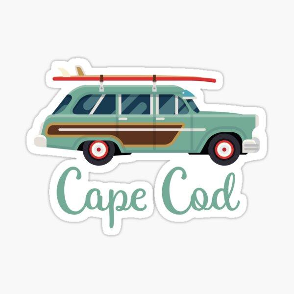 Cape Cod Massachusetts Retro Surf Wagon Sticker