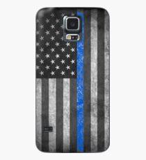 Dünne blaue Linie Hülle & Klebefolie für Samsung Galaxy