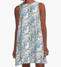 Blue Flowers A-Line Dress
