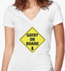 GAYBY ON BOARD clothing Women's Fitted V-Neck T-Shirt