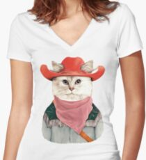 Rodeo Cat Women's Fitted V-Neck T-Shirt