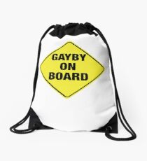 GAYBY ON BOARD stickers, drawstring bags, notebooks Drawstring Bag