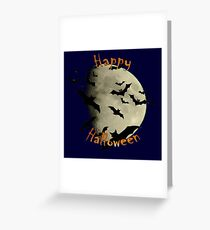 Happy Halloween  Bats and Haunting Moon Greeting Card