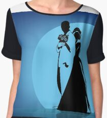 Silhouettes of the bride hugging the groom  Chiffon Top