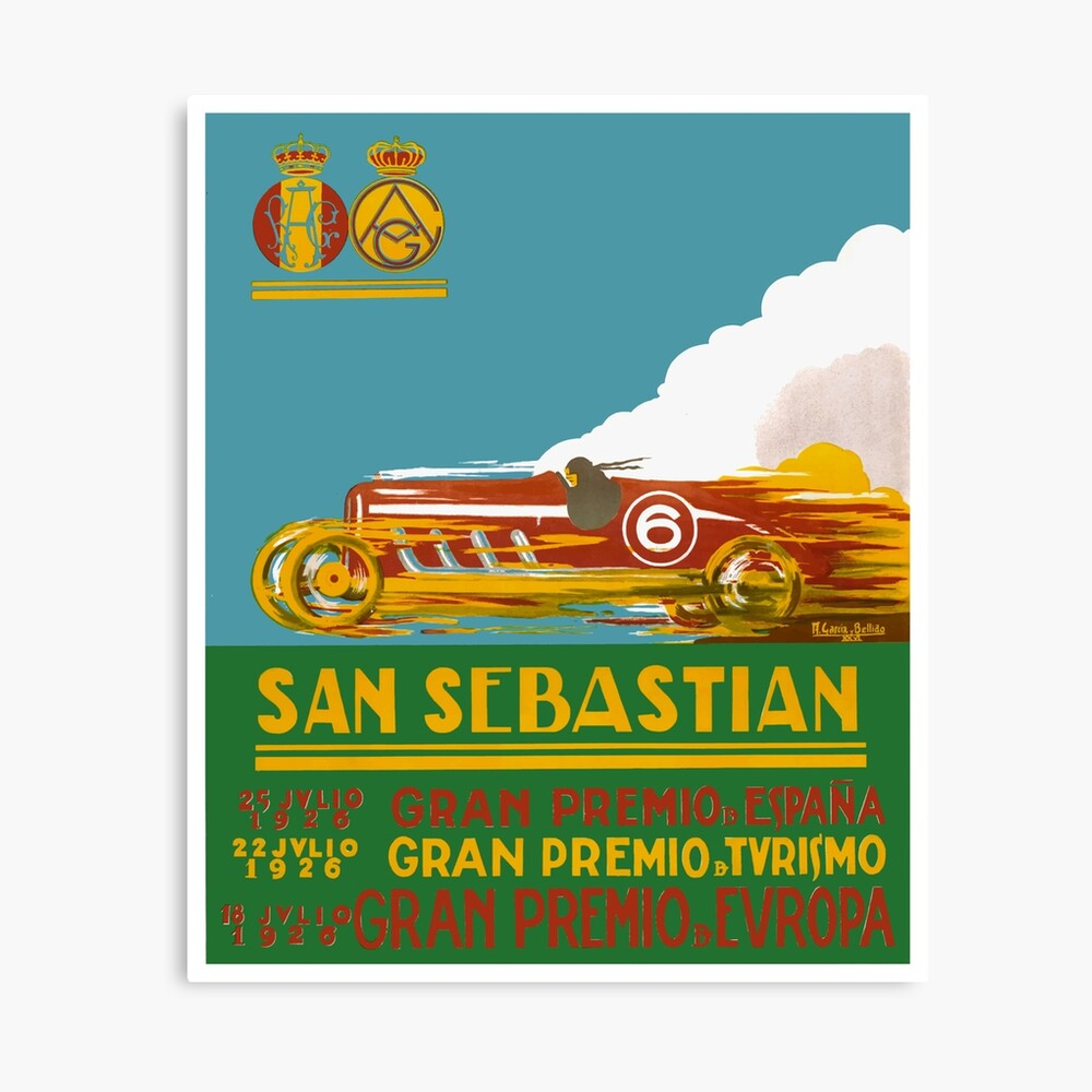 San Sebastian Spain 1934 Grand Prix Vintage Automobile Motor Art Deco Poster