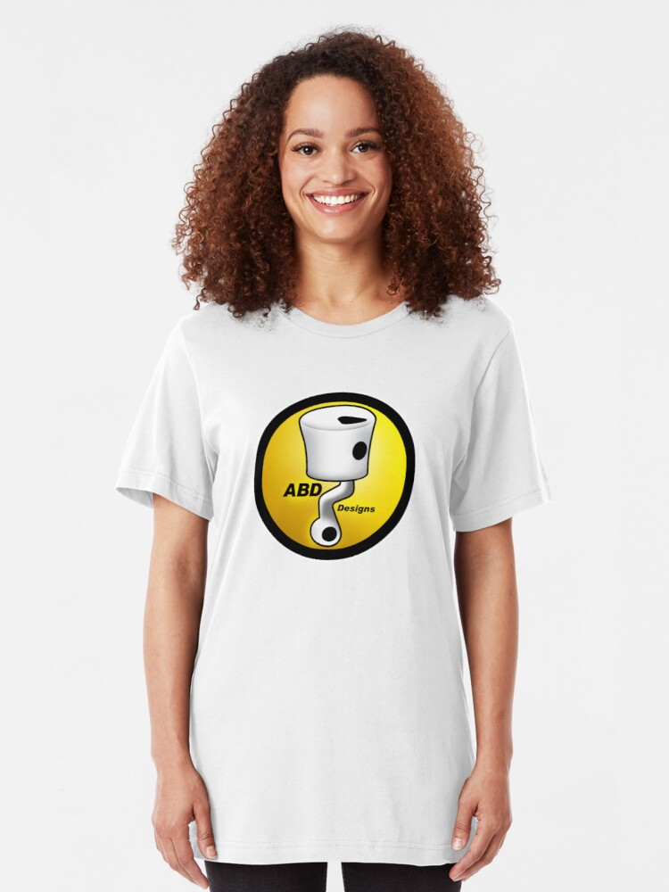 Alternate view of ABD vintage race bike logo - Yellow Slim Fit T-Shirt