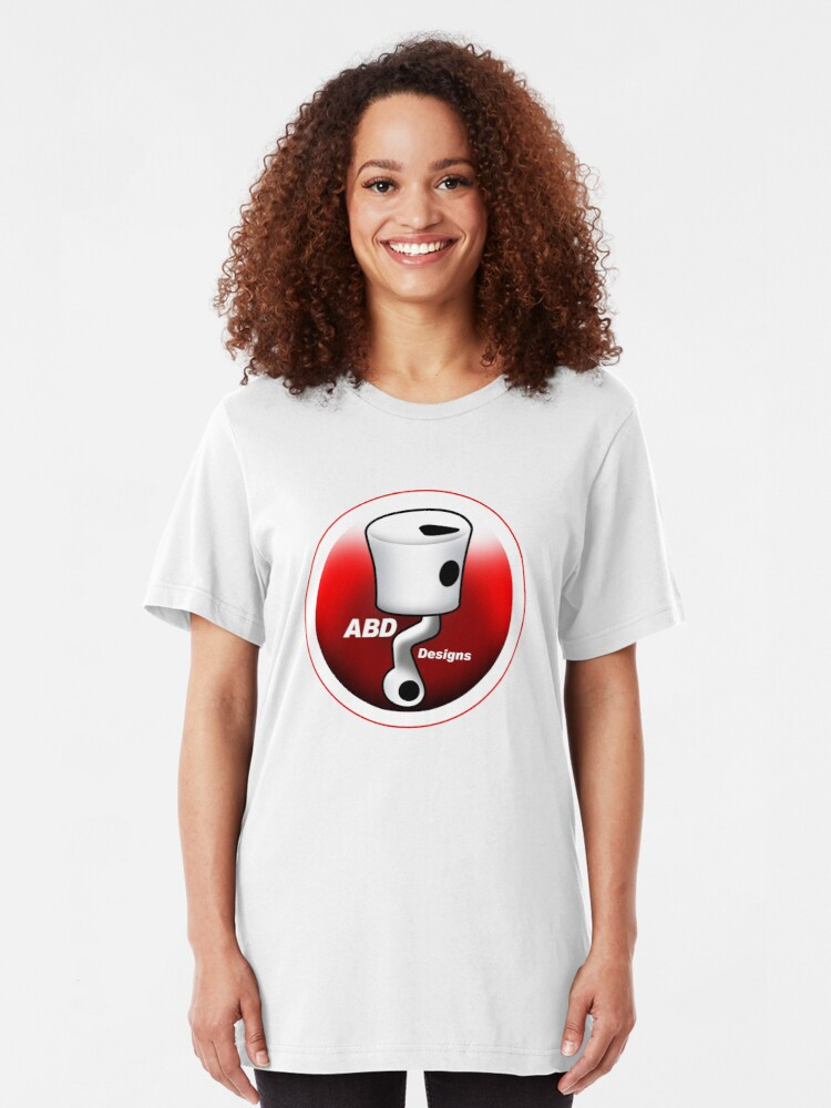 Alternate view of ABD vintage race bike logo - Red Slim Fit T-Shirt