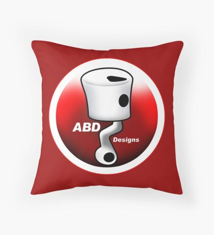 ABD vintage race bike logo - Red Throw Pillow
