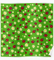 Hand drawn ladybug and flower pattern Poster