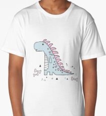 Ornament with dinosaurs, Jurassic Park. Adorable seamless pattern with funny dinosaurs in cartoon Long T-Shirt