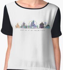 Meet me at my Magic Place. Happiest Place on Earth. Theme Park Skyline. Florida, Paris, California. Women's Chiffon Top