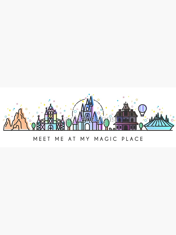 Meet me at my Magic Place. Happiest Place on Earth. Theme Park Skyline. Florida, Paris, California. by tachadesigns