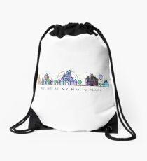 Meet me at my Magic Place. Happiest Place on Earth. Theme Park Skyline. Florida, Paris, California. Drawstring Bag