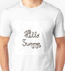 Brush Lettering Composition.Phrase Hello Summer. Hello Summer Text Title Poster Design T-Shirt