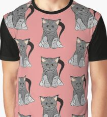 Cute cats vector on pink background  Graphic T-Shirt
