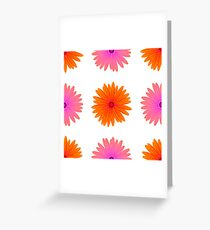 Spring Pink Orange Flowers Isolated on White Background. Seamless Flower Pattern Greeting Card