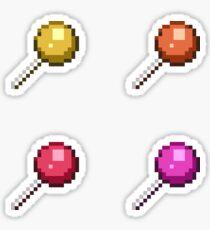 Pixel Art Lollipops Warm Colors Sticker