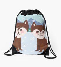 Merry Christmas New Year's card design Kawaii funny brown husky dog, face with large eyes and pink cheeks, boy and girl, mountain landscape snowflakes background Drawstring Bag