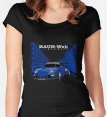 Blue Rauh Welt Begriff Women's Fitted Scoop T-Shirt