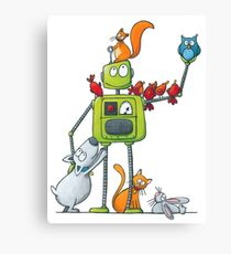 The robot and the animals Canvas Print