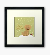 Merry Christmas New Year's card design Kawaii funny golden beige dog, face with large eyes and pink cheeks. white snow christmas decorations, stars, sleigh gifts on green sky background Framed Print