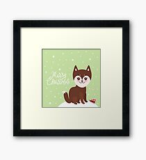 Merry Christmas New Year's card design funny brown husky dog, Kawaii face with large eyes and pink cheeks, light green background Framed Print