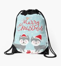 Merry Christmas New Year's card design funny gray husky dog in red hat, Kawaii face with large eyes and pink cheeks, boy and girl and white snowflakes on blue background Drawstring Bag