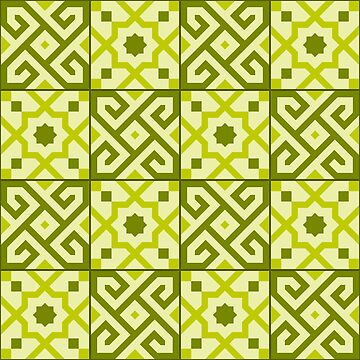 Geometric Pattern: Tiles: Green by redwolfoz